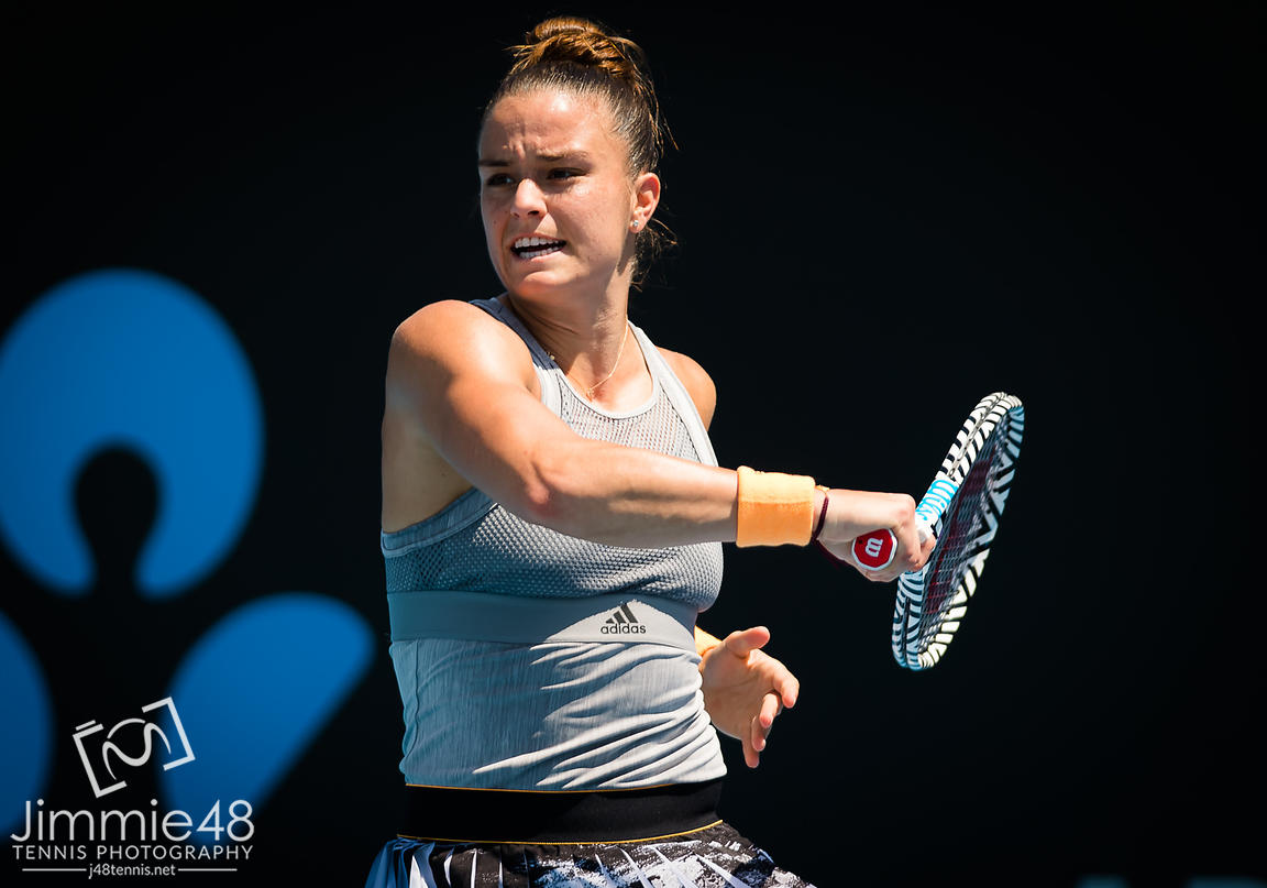 Maria Sakkari of Greece in action during her second round match at the 2020 Adelaide International WTA Premier tennis tournament