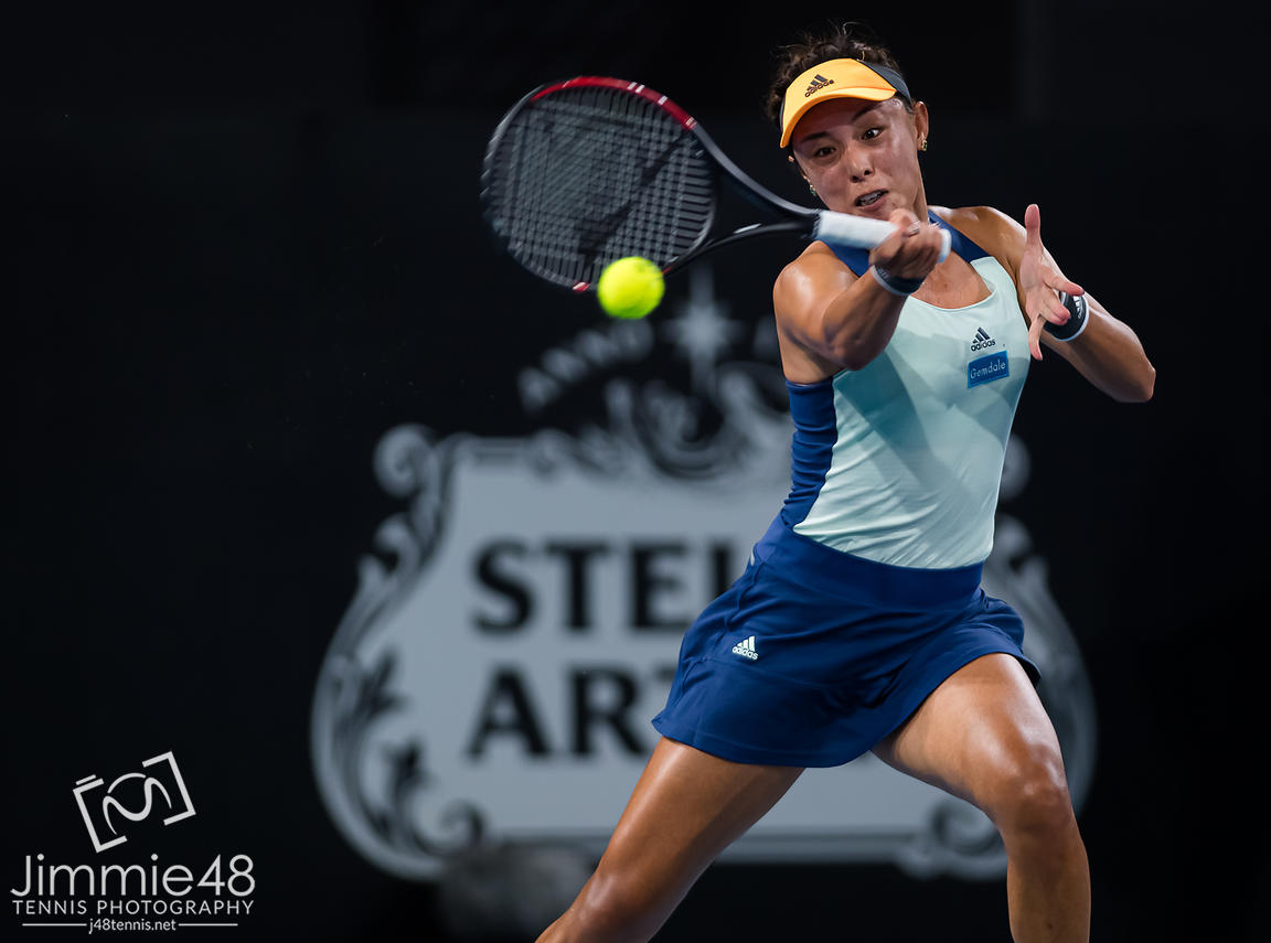 Qiang Wang of China in action during the first round of the 2020 Adelaide International WTA Premier tennis tournament