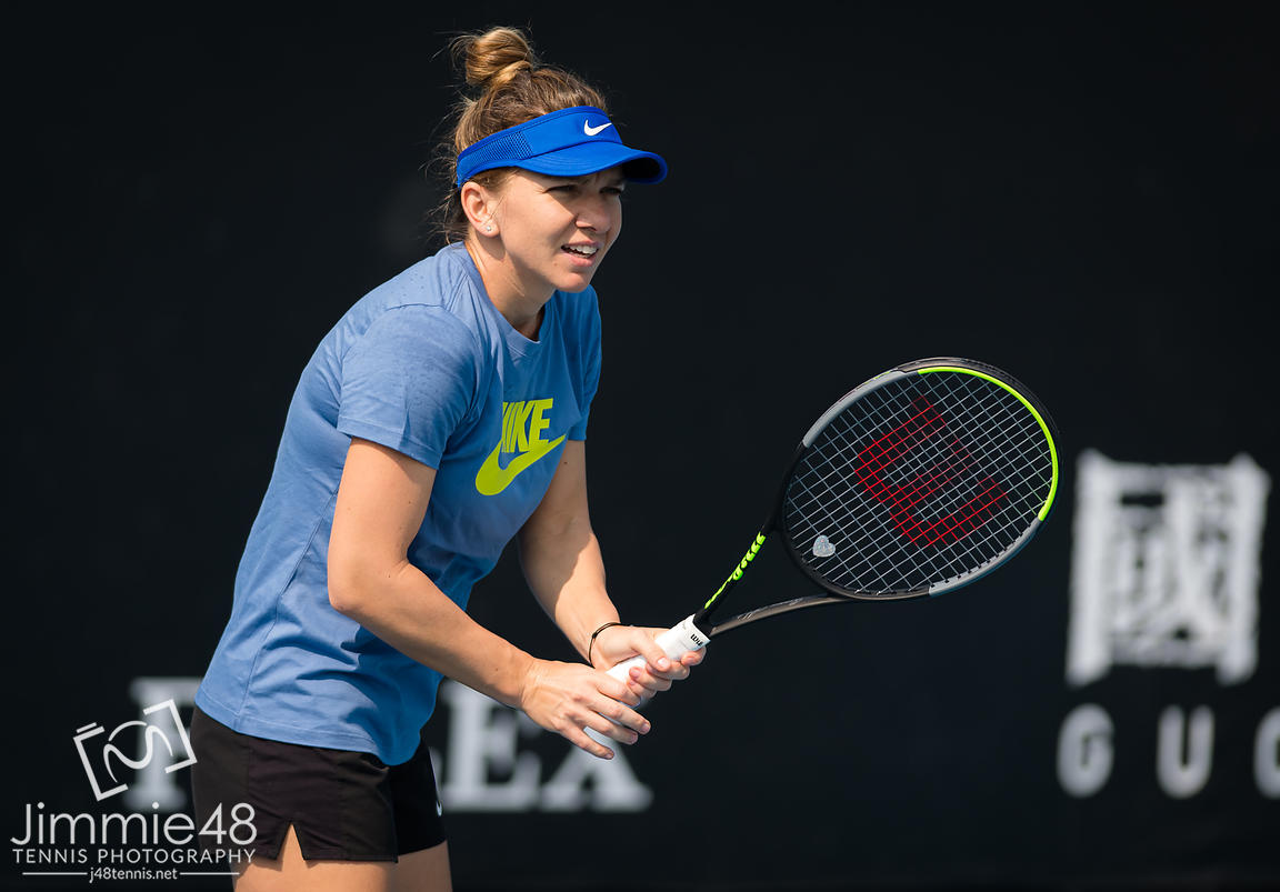 Simona Halep of Romania during practice at the 2020 Australian Open Grand Slam tennis tournament