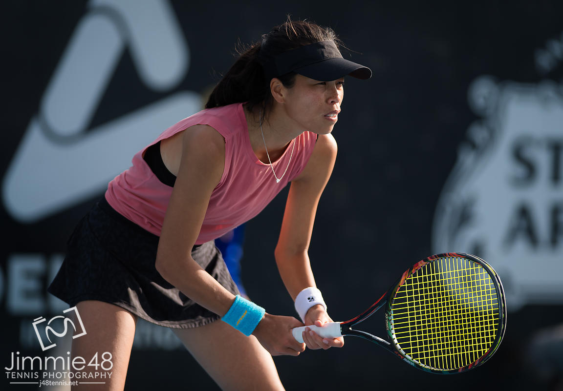 Su-Wei Hsieh of Chinese Taipeh in action during the first round at the 2020 Adelaide International WTA Premier tennis tournament