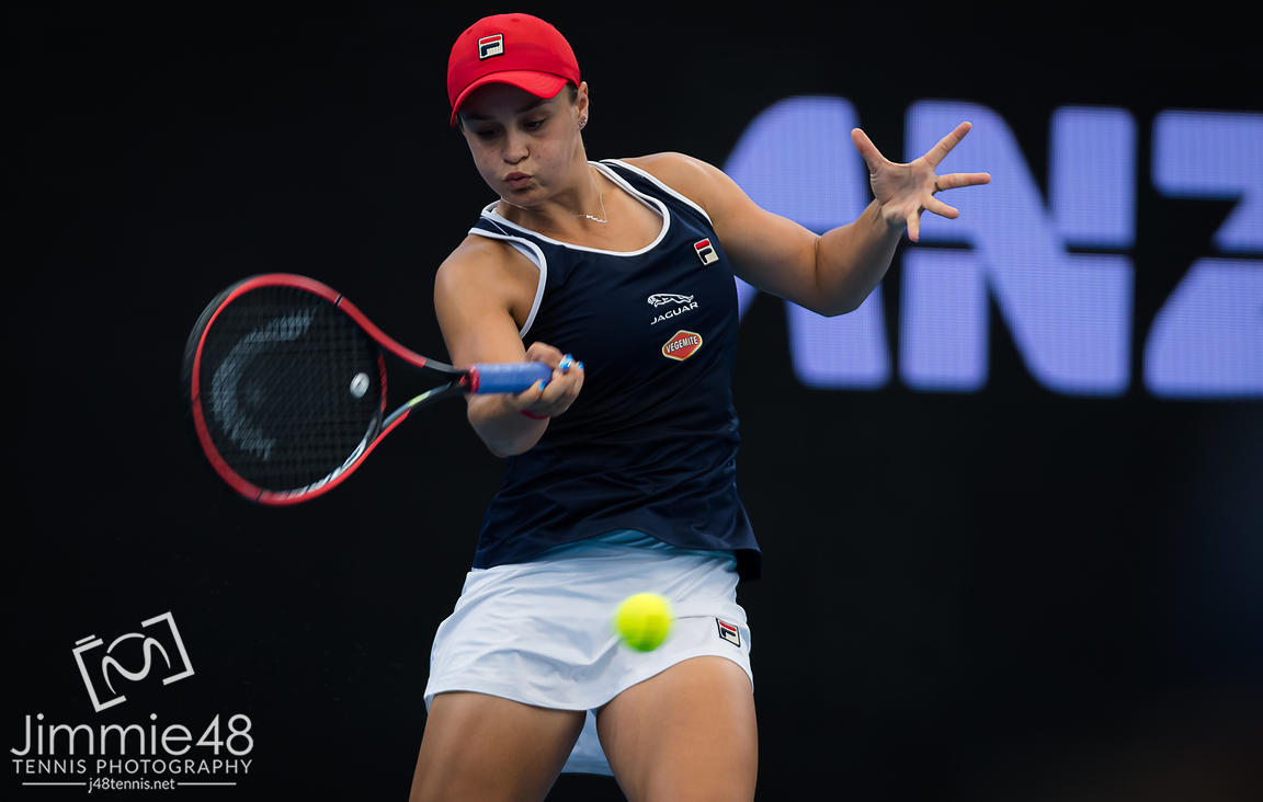 Ashleigh Barty of Australia in action during the second round of the 2020 Brisbane International WTA Premier tennis tournament