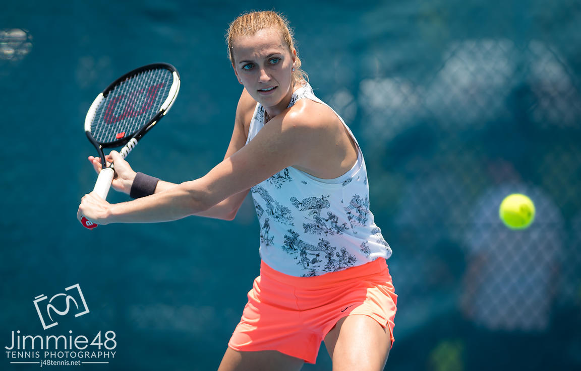 Petra Kvitova of the Czech Republic during practice ahead of the 2020 Brisbane International WTA Premier tennis tournament