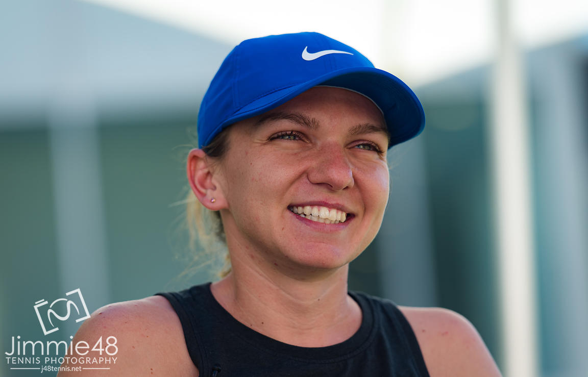 Simona Halep of Romania talks to the media during All Access Hour at the 2020 Adelaide International WTA Premier tennis tournament