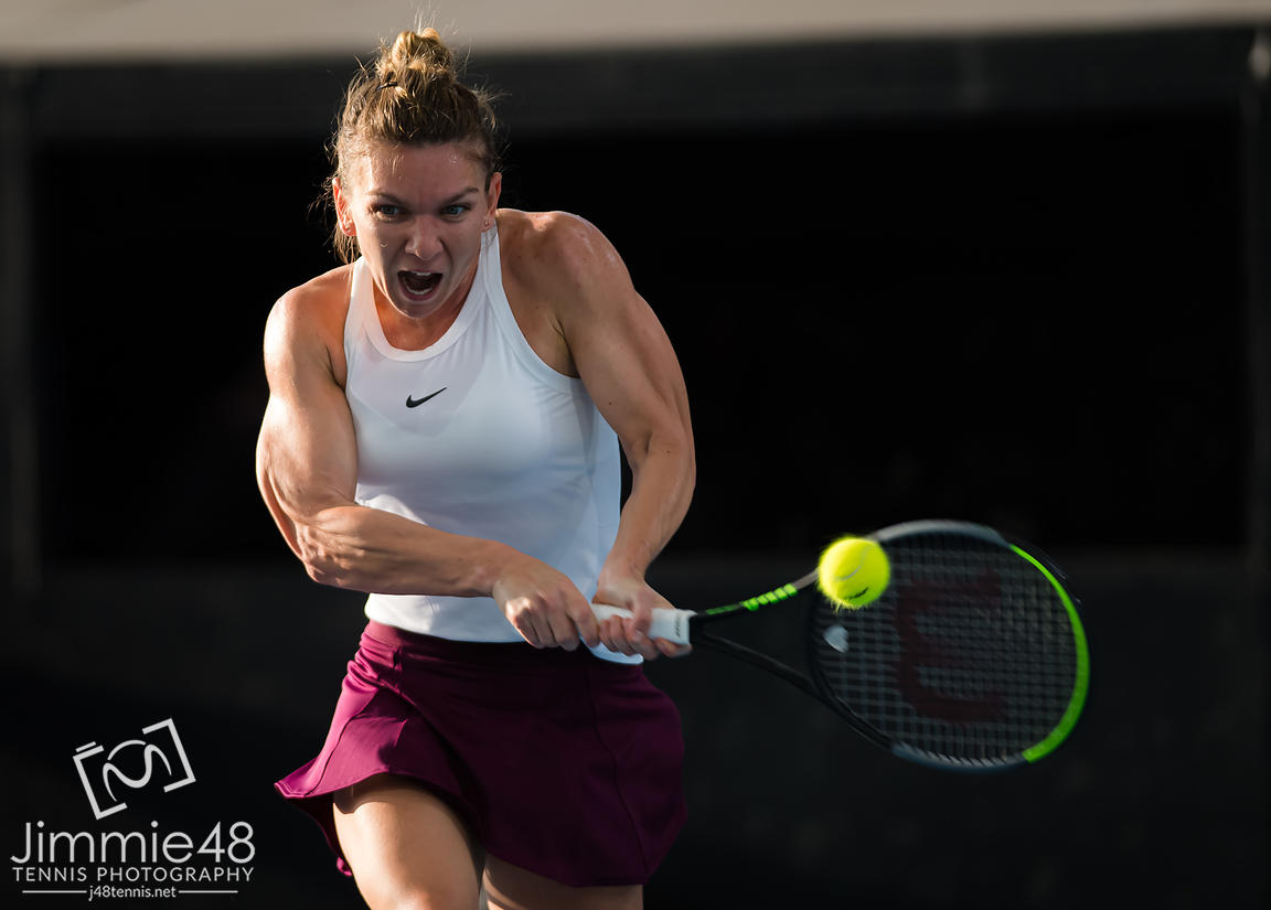 Simona Halep of Romania in action during the second round at the 2020 Adelaide International WTA Premier tennis tournament