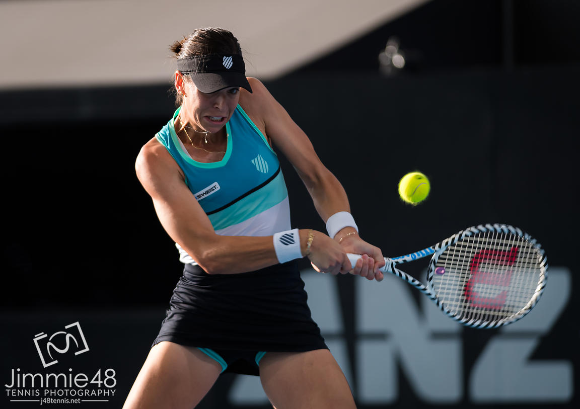 Ajla Tomljanovic of Australia in action during the second round at the 2020 Adelaide International WTA Premier tennis tournament