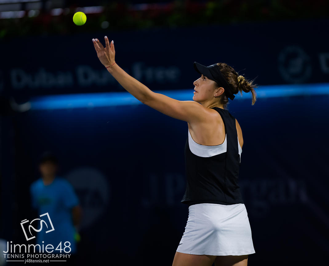 Belinda Bencic of Switzerland in action during her third-round match at the 2019 Dubai Duty Free Tennis Championships WTA Premier 5 tennis tournament