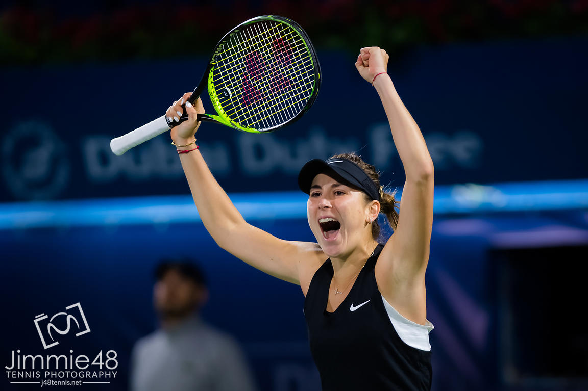 Belinda Bencic of Switzerland celebrates winning her third-round match at the 2019 Dubai Duty Free Tennis Championships WTA Premier 5 tennis tournament