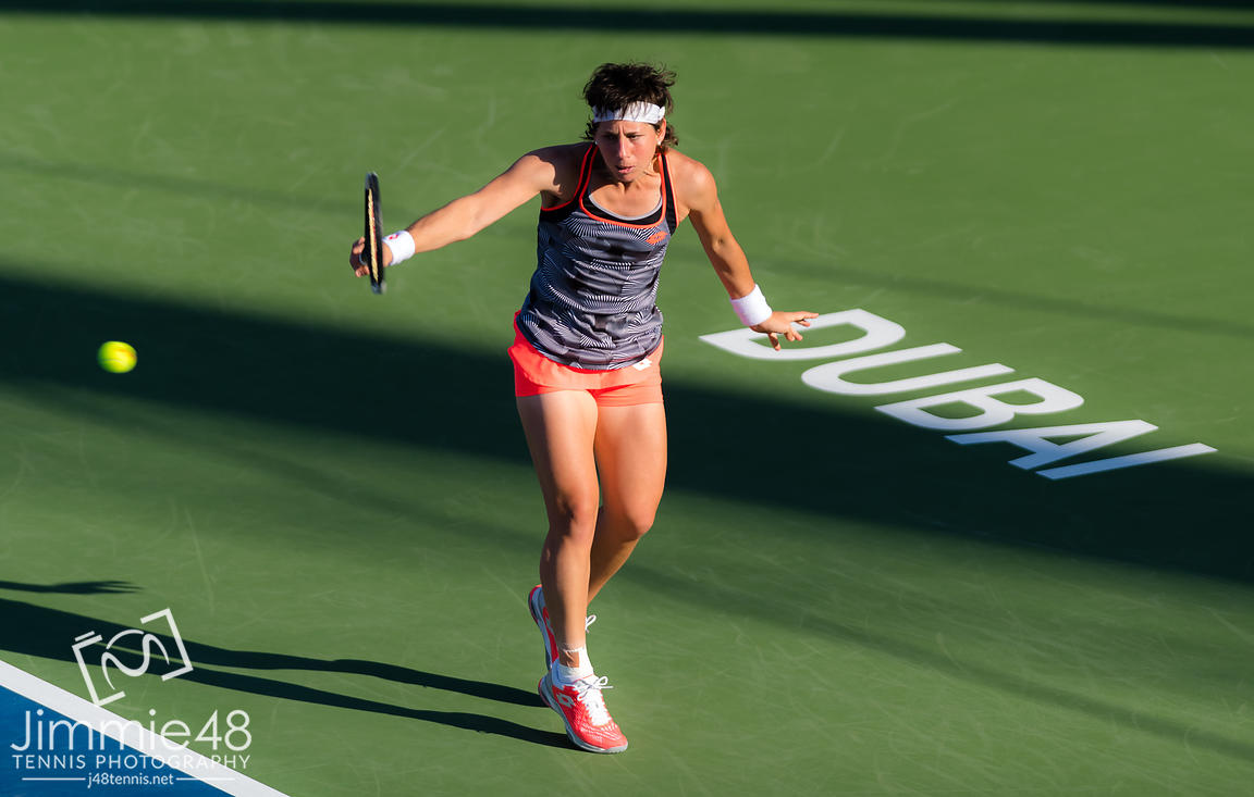 ICarla Suarez Navarro of Spain in action during her third-round at the 2019 Dubai Duty Free Tennis Championships WTA Premier 5 tennis tournament