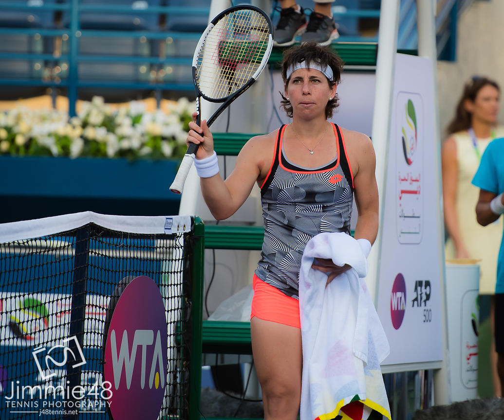 ICarla Suarez Navarro of Spain after winning her third-round at the 2019 Dubai Duty Free Tennis Championships WTA Premier 5 tennis tournament