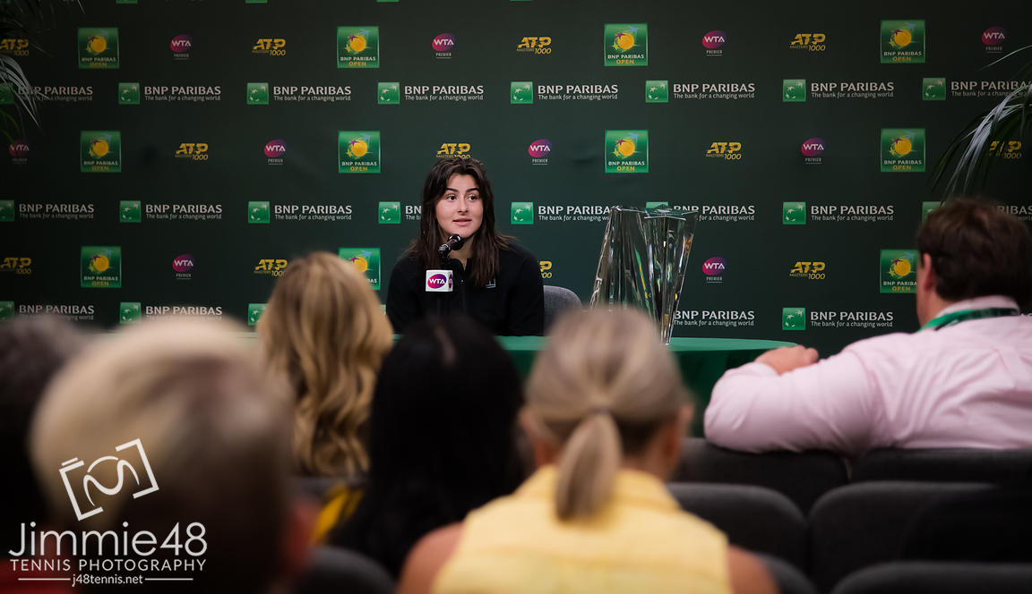 Bianca Andreescu of Canada talks to the media after winning the final of the 2019 BNP Paribas Open WTA Premier Mandatory tennis tournament