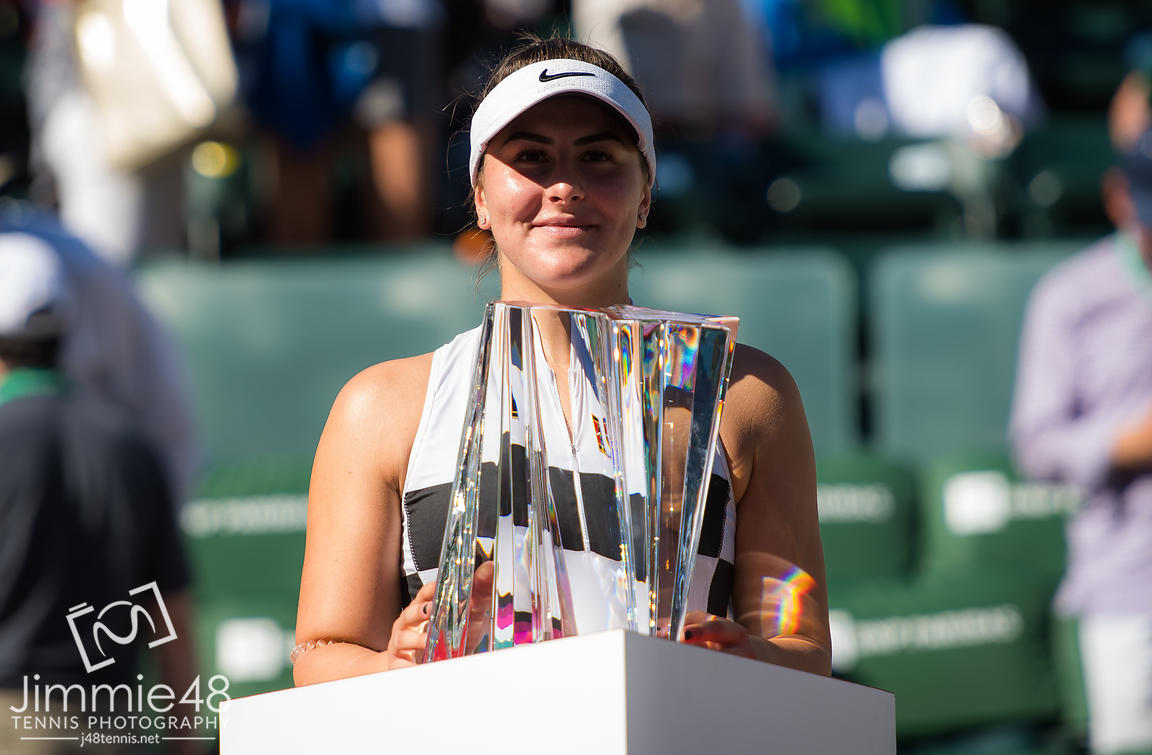 Bianca Andreescu of Canada poses with the trophy after winning the final of the 2019 BNP Paribas Open WTA Premier Mandatory tennis tournament