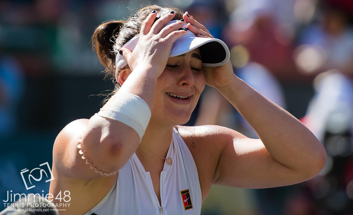Bianca Andreescu of Canada reacts to winning the final of the 2019 BNP Paribas Open WTA Premier Mandatory tennis tournament