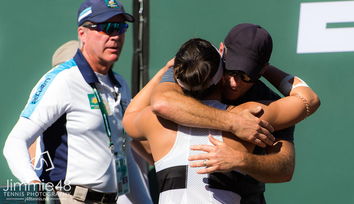 Bianca Andreescu of Canada celebrates with her team after winning the final of the 2019 BNP Paribas Open WTA Premier Mandatory tennis tournament