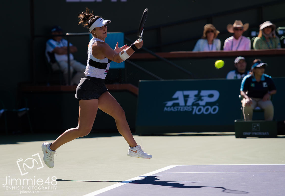 Bianca Andreescu of Canada in action during the final of the 2019 BNP Paribas Open WTA Premier Mandatory tennis tournament