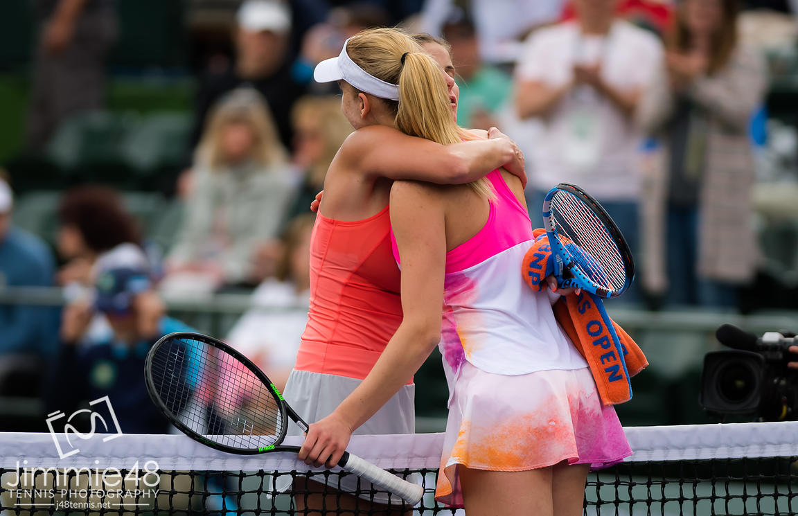 Julia Goerges of Germany & Mona Barthel of Germany at the net after their third-round match at the 2019 BNP Paribas Open WTA Premier Mandatory tennis tournament