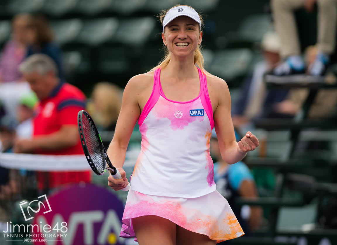 Mona Barthel of Germany in action during her third-round match at the 2019 BNP Paribas Open WTA Premier Mandatory tennis tournament