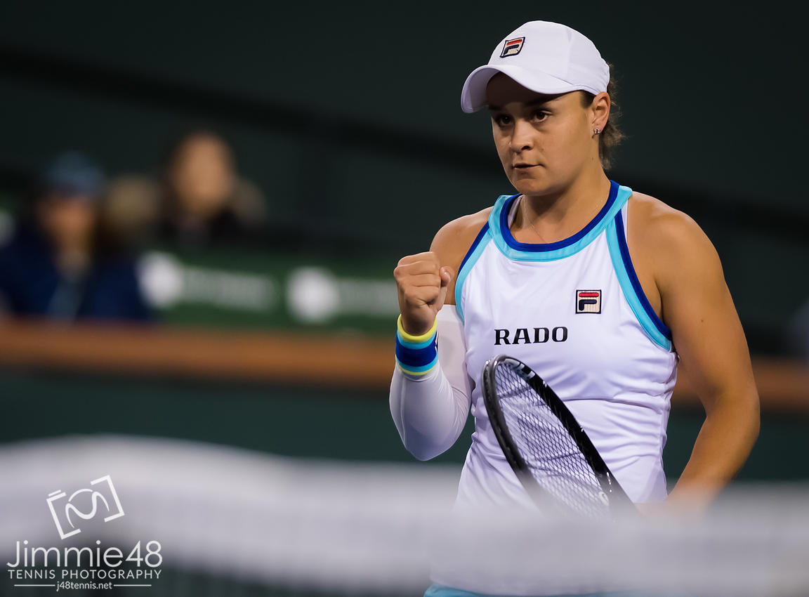 Ashleigh Barty of Australia in action during her third-round match at the 2019 BNP Paribas Open WTA Premier Mandatory tennis tournament