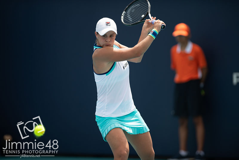 Ashleigh Barty of Australia in action during her fourth-round match at the 2019 Miami Open WTA Premier Mandatory tennis tournament