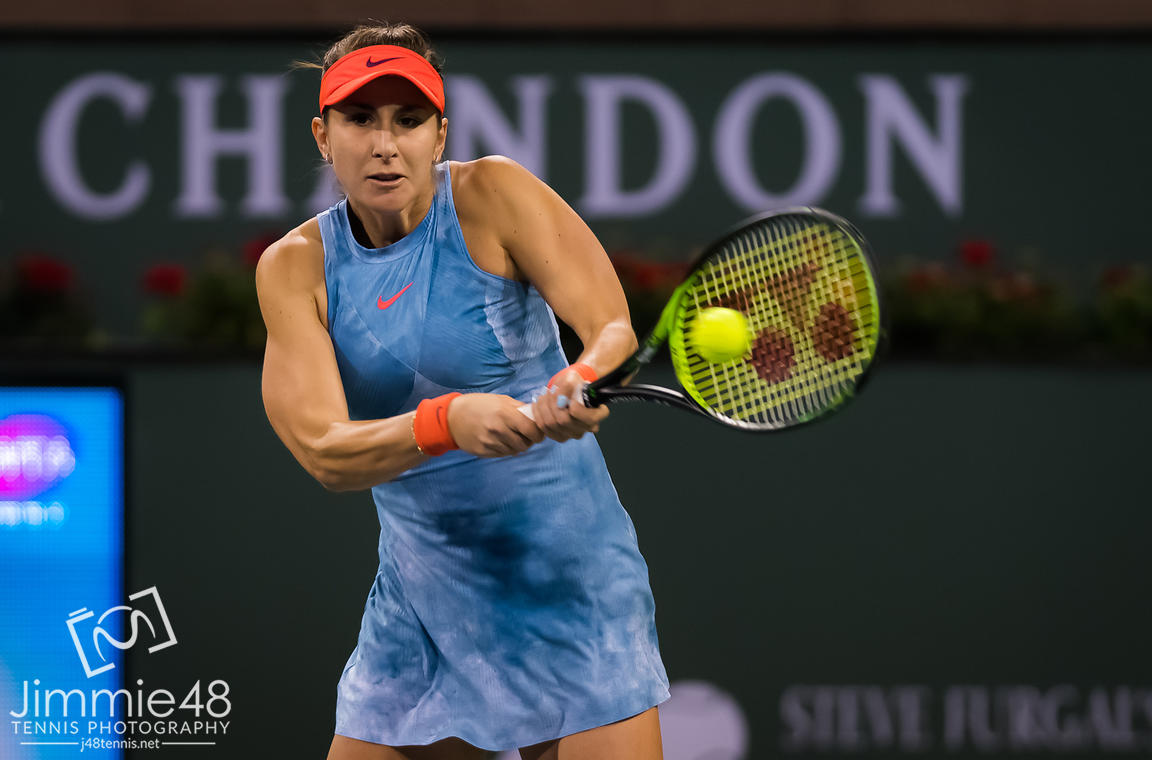 Belinda Bencic of Switzerland in action during her fourth-round match at the 2019 BNP Paribas Open WTA Premier Mandatory tennis tournament