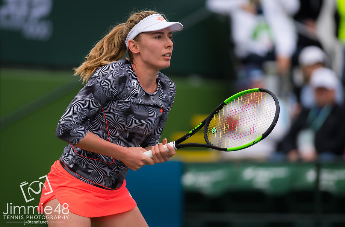 Ekaterina Alexandrova of Russia in action during her third-round match at the 2019 BNP Paribas Open WTA Premier Mandatory tennis tournament