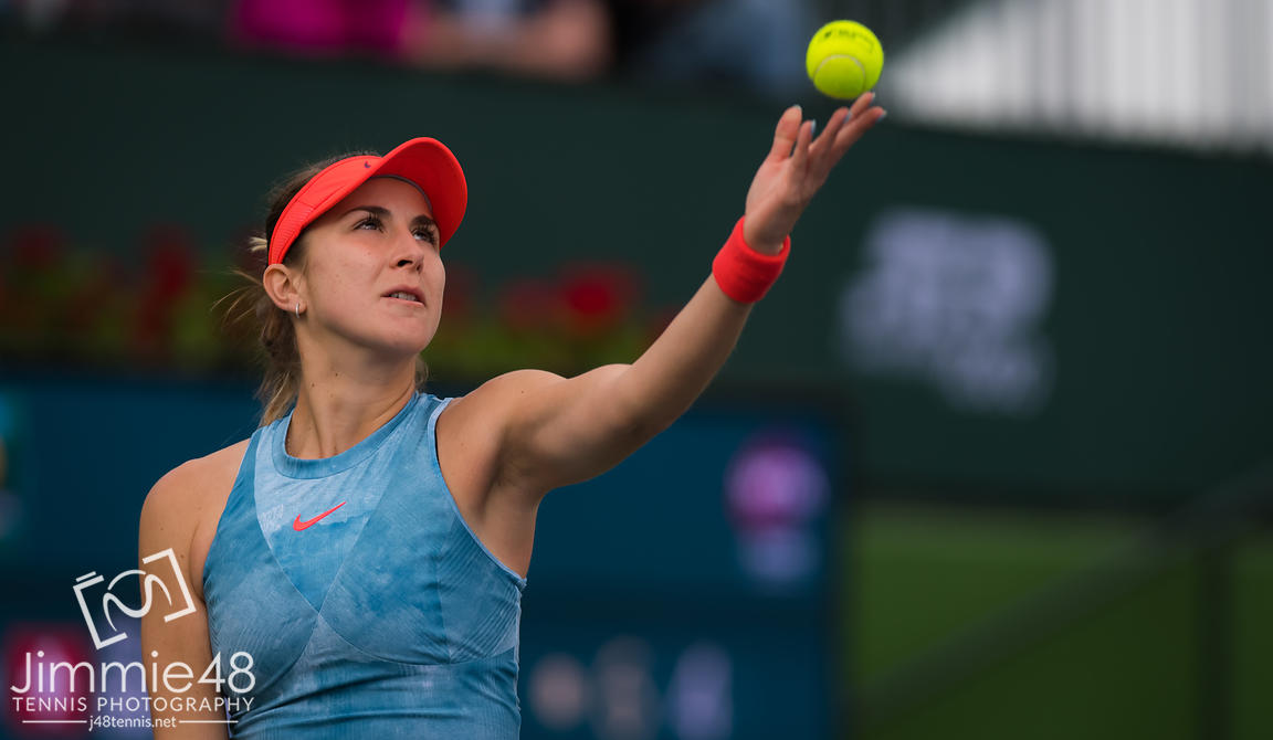Belinda Bencic of Switzerland in action during her third-round match at the 2019 BNP Paribas Open WTA Premier Mandatory tennis tournament