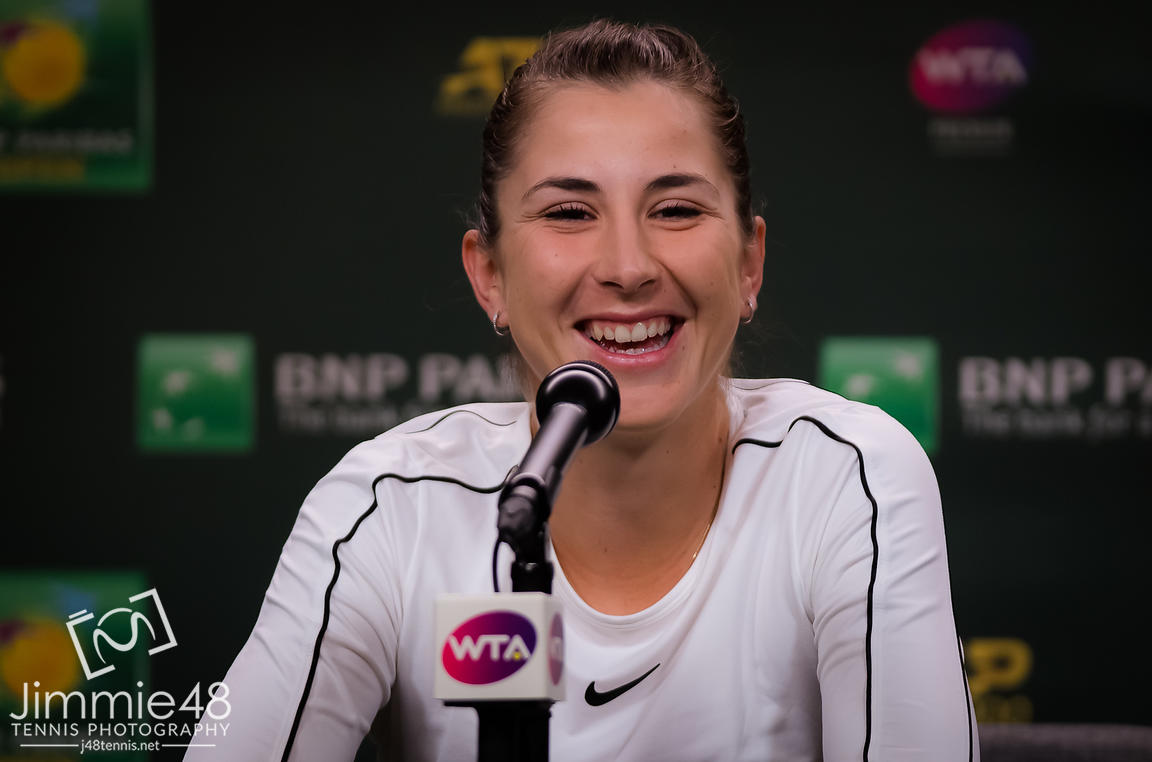 Belinda Bencic of Switzerland talks to the media after winning her third-round match at the 2019 BNP Paribas Open WTA Premier Mandatory tennis tournament
