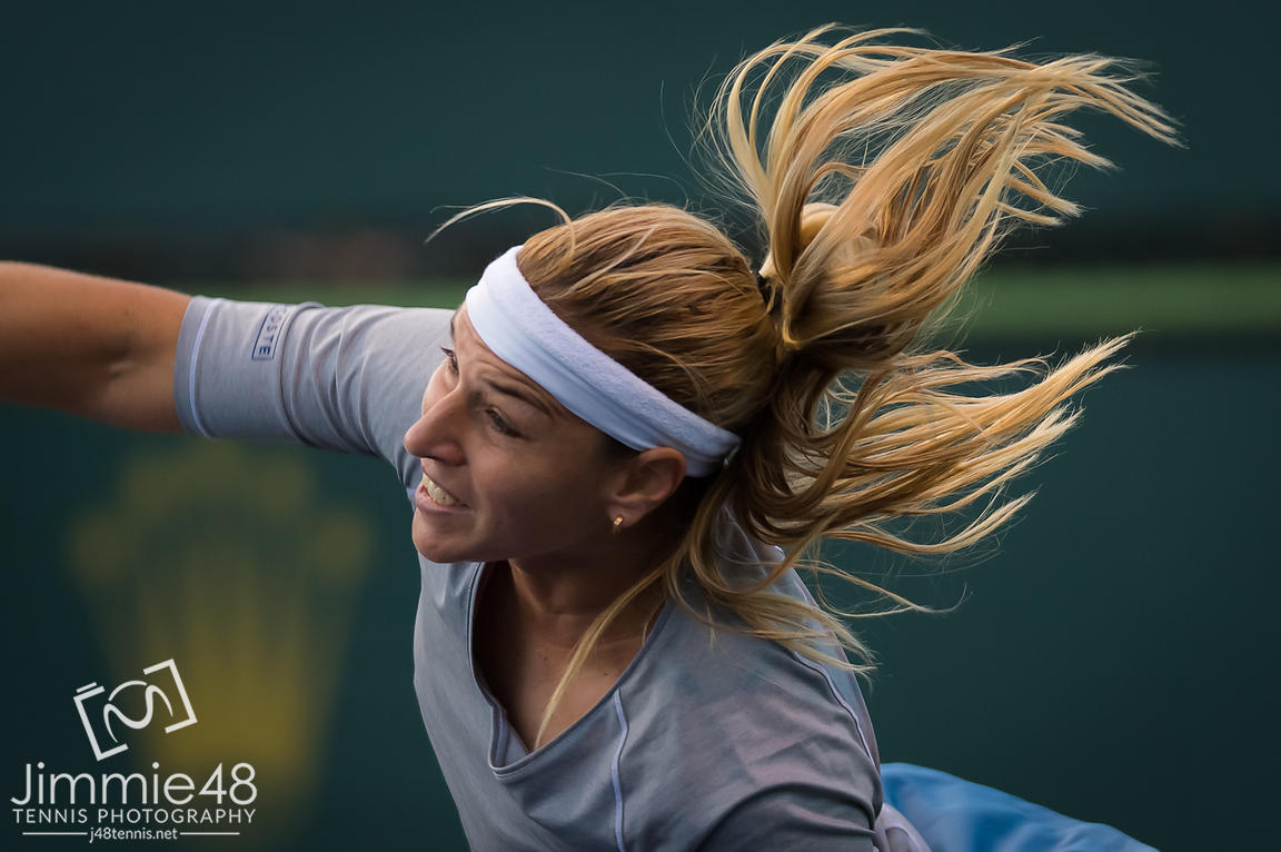 Dominika Cibulkova of Slovakia in action during her second-round match at the 2019 BNP Paribas Open WTA Premier Mandatory tennis tournament