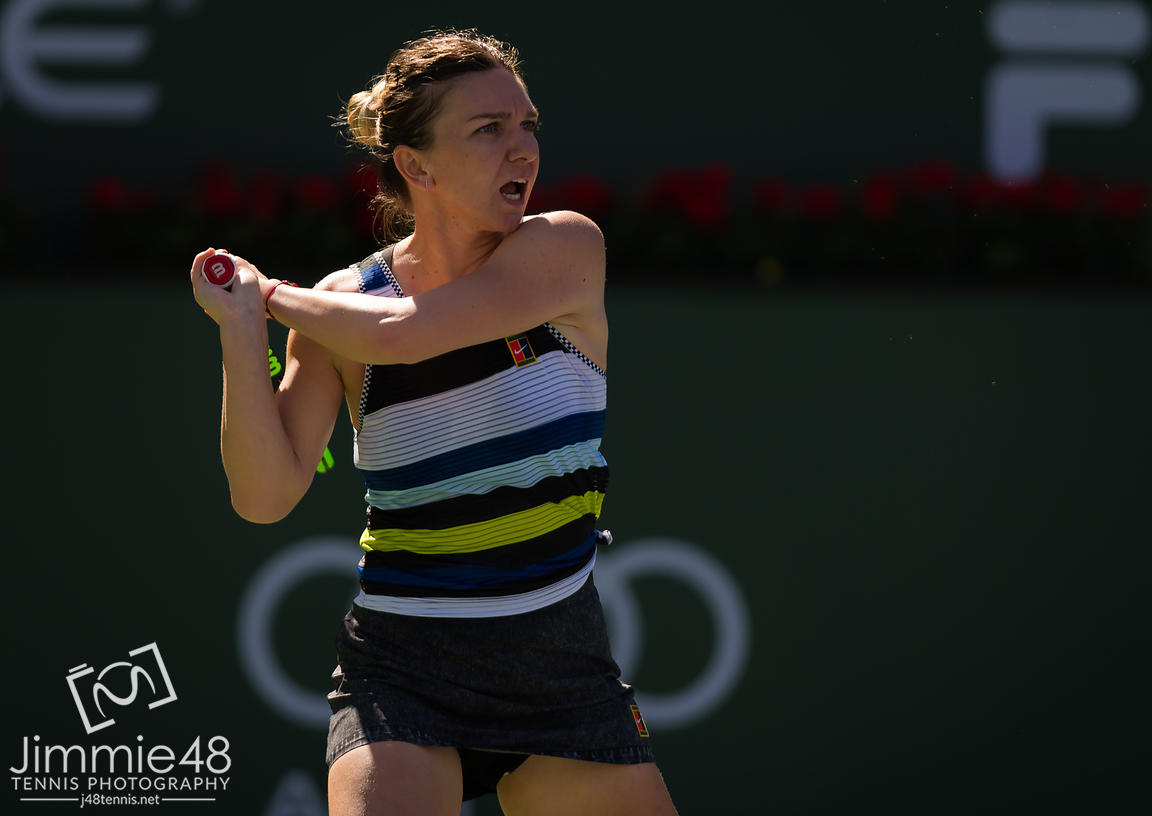 Simona Halep of Romania in action during her fourth-round match at the 2019 BNP Paribas Open WTA Premier Mandatory tennis tournament