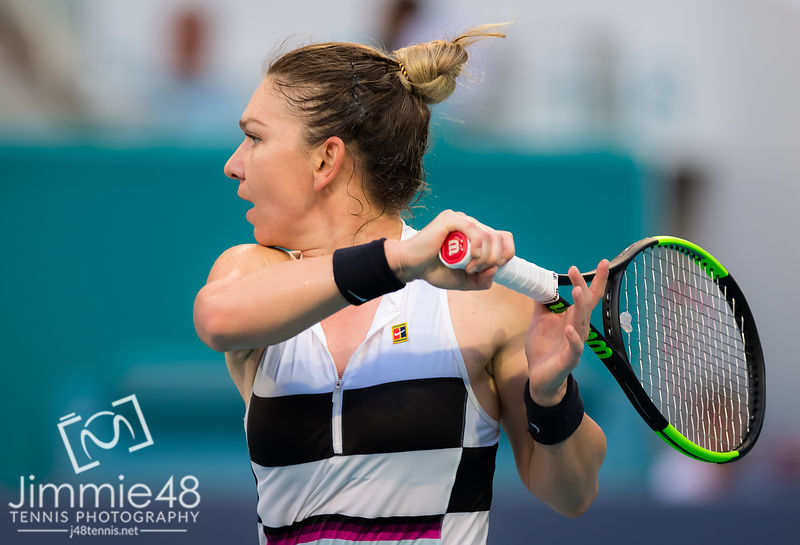 Simona Halep of Romania in action during her fourth-round match at the 2019 Miami Open WTA Premier Mandatory tennis tournament