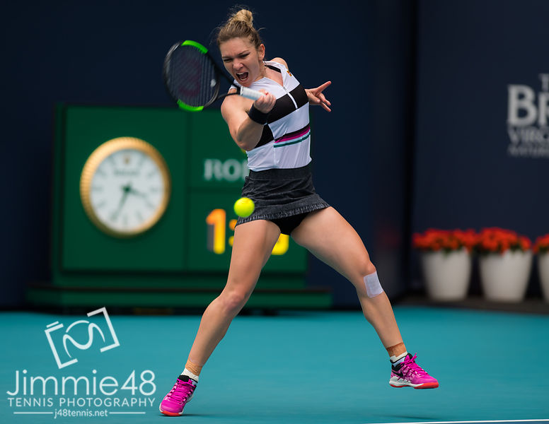 Simona Halep of Romania in action during her third-round match at the 2019 Miami Open WTA Premier Mandatory tennis tournament