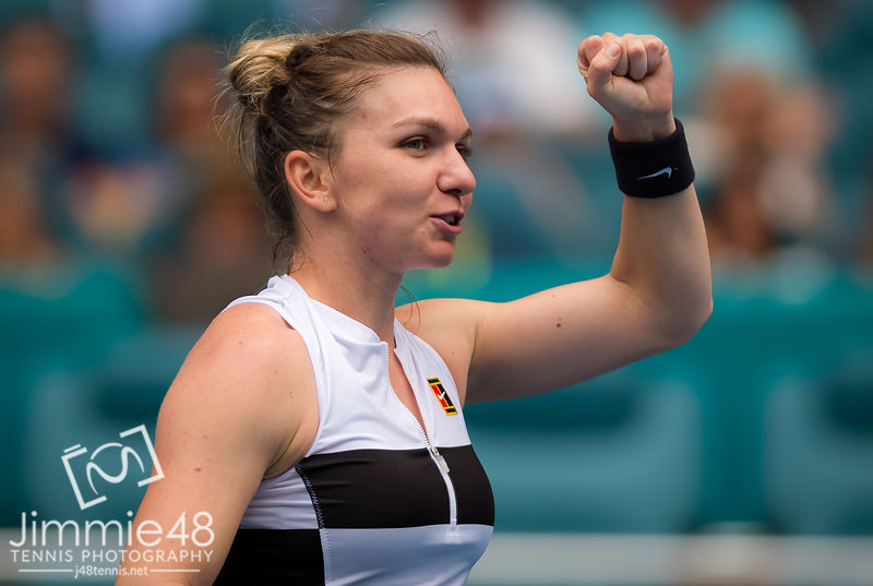 Simona Halep of Romania celebrates winning her third-round match at the 2019 Miami Open WTA Premier Mandatory tennis tournament