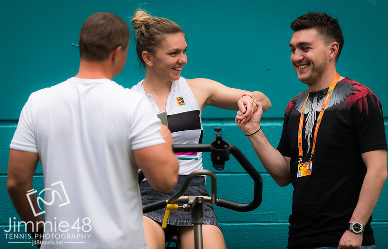 ISimona Halep of Romania after winning her third-round match at the 2019 Miami Open WTA Premier Mandatory tennis tournament
