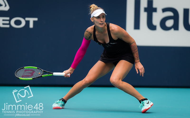 Polona Hercog of Slovenia in action during her third-round match at the 2019 Miami Open WTA Premier Mandatory tennis tournament