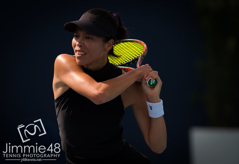 Su-Wei Hsieh of Chinese Taipeh in action during her fourth-round match at the 2019 Miami Open WTA Premier Mandatory tennis tournament