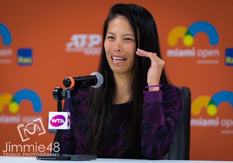 Su-Wei Hsieh of Chinese Taipeh talks to the media after her fourth-round match at the 2019 Miami Open WTA Premier Mandatory tennis tournament