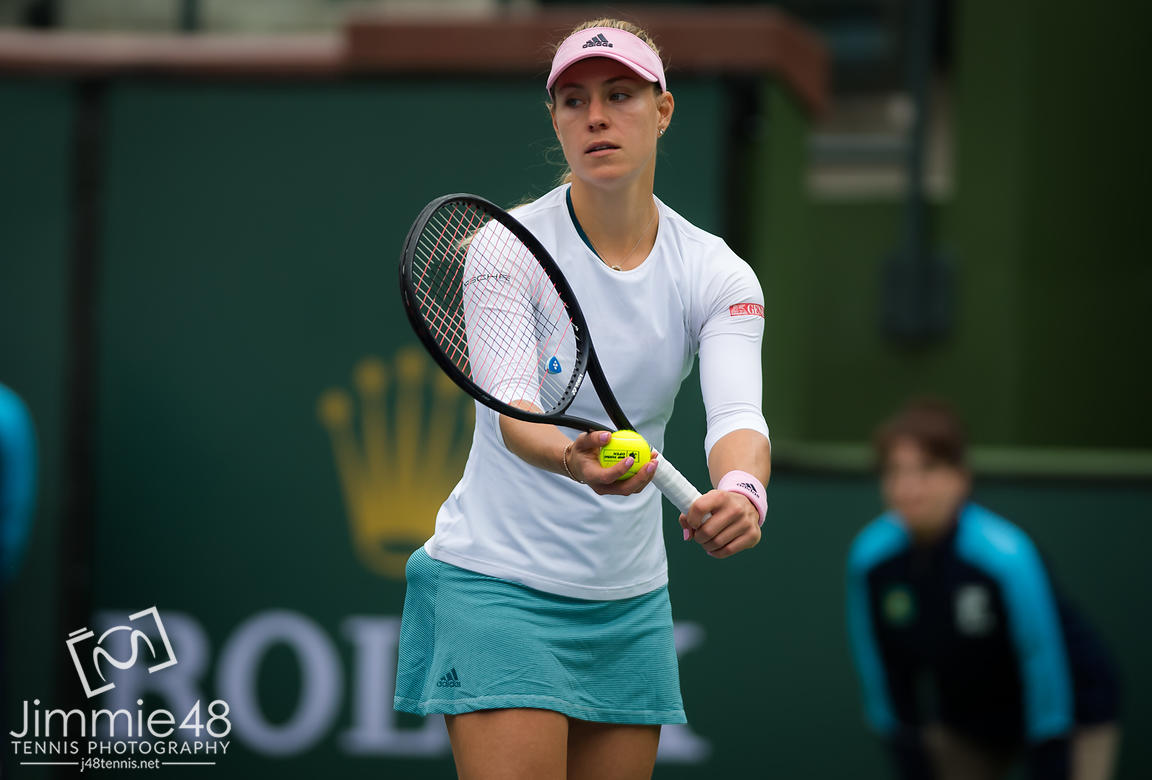 Angelique Kerber of Germany in action during her third-round match at the 2019 BNP Paribas Open WTA Premier Mandatory tennis tournament