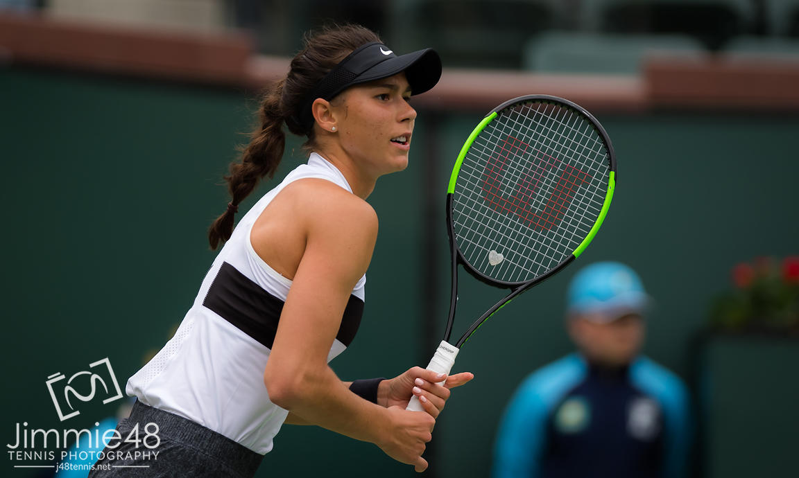 Natalia Vikhlyantseva of Russia in action during her third-round match at the 2019 BNP Paribas Open WTA Premier Mandatory tennis tournament