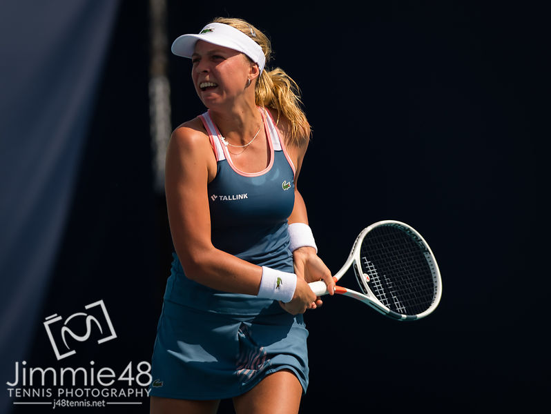 Anett Kontaveit of Estonia in action during during her fourth-round match at the 2019 Miami Open WTA Premier Mandatory tennis tournament