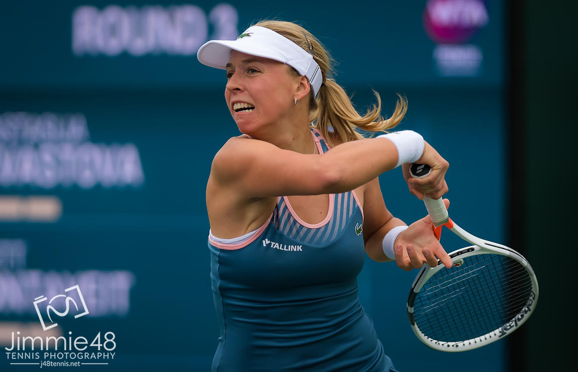 Anett Kontaveit of Estonia in action during her third-round match at the 2019 BNP Paribas Open WTA Premier Mandatory tennis tournament