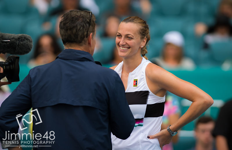 Petra Kvitova of the Czech Republic after her fourth-round match at the 2019 Miami Open WTA Premier Mandatory tennis tournament