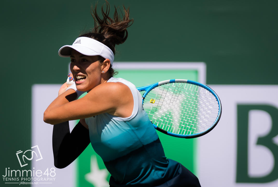 Garbine Muguruza of Spain in action during her fourth-round match at the 2019 BNP Paribas Open WTA Premier Mandatory tennis tournament