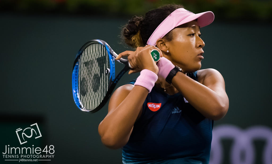 Naomi Osaka of Japan in action during her third-round match at the 2019 BNP Paribas Open WTA Premier Mandatory tennis tournament