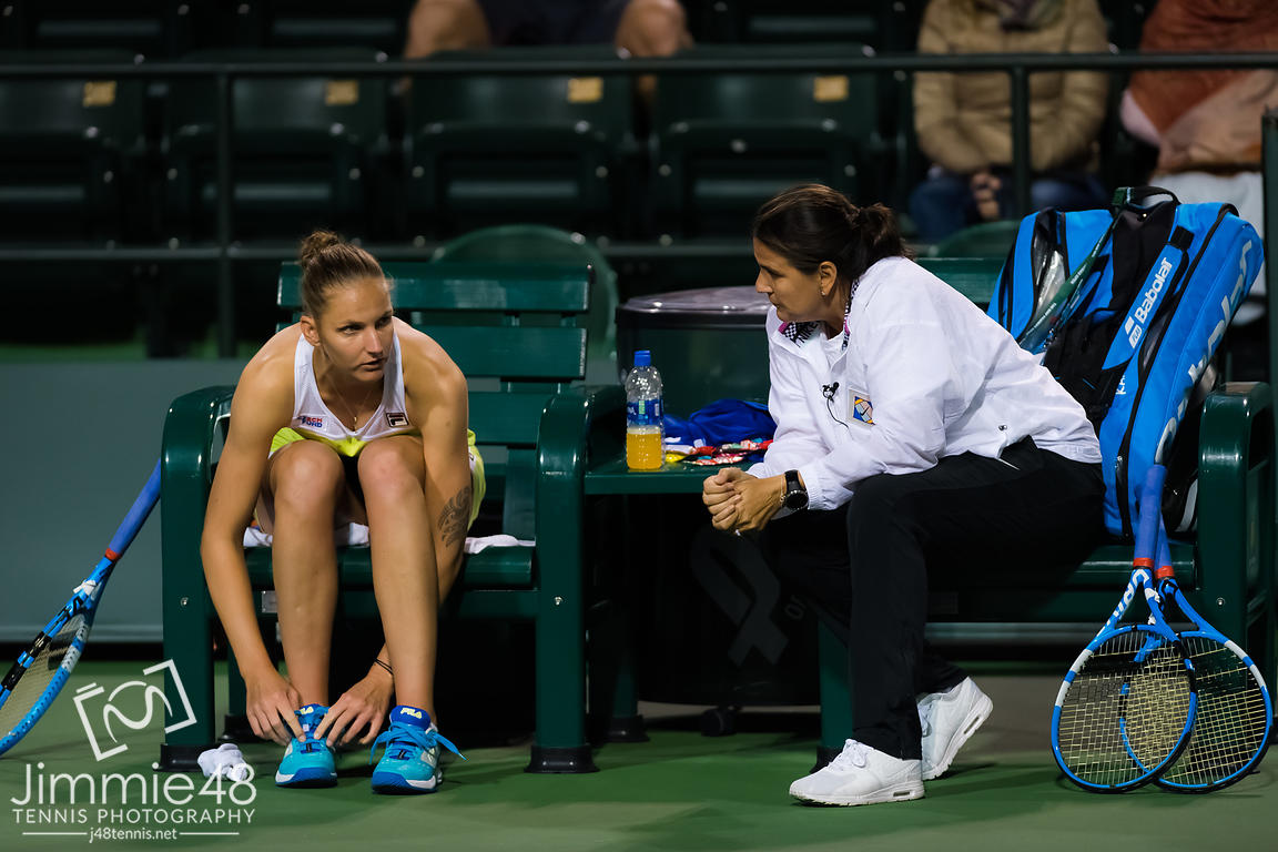 Conchita Martinez coaches Karolina Pliskova during her fourth-round match at the 2019 BNP Paribas Open WTA Premier Mandatory tennis tournament