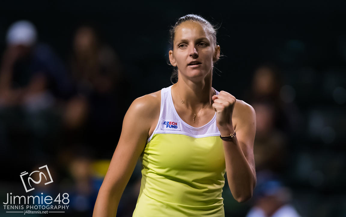 Karolina Pliskova of the Czech Republic in action during her fourth-round match at the 2019 BNP Paribas Open WTA Premier Mandatory tennis tournament