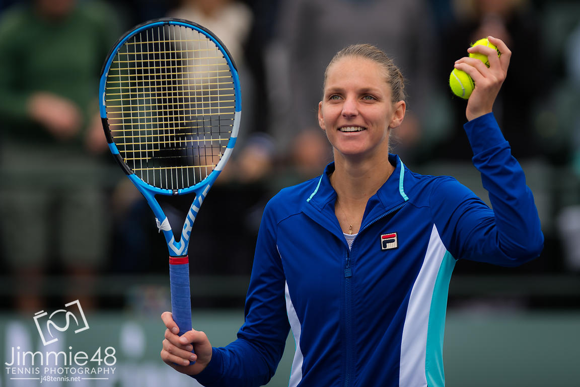 Karolina Pliskova of the Czech Republic in action during her third-round match at the 2019 BNP Paribas Open WTA Premier Mandatory tennis tournament