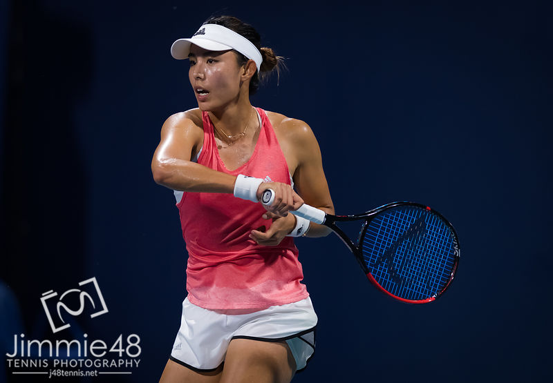 Qiang Wang of China in action during her fourth-round match at the 2019 Miami Open WTA Premier Mandatory tennis tournament