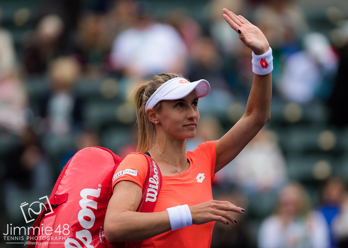 Lesia Tsurenko of the Ukraine in action during her third-round match at the 2019 BNP Paribas Open WTA Premier Mandatory tennis tournament
