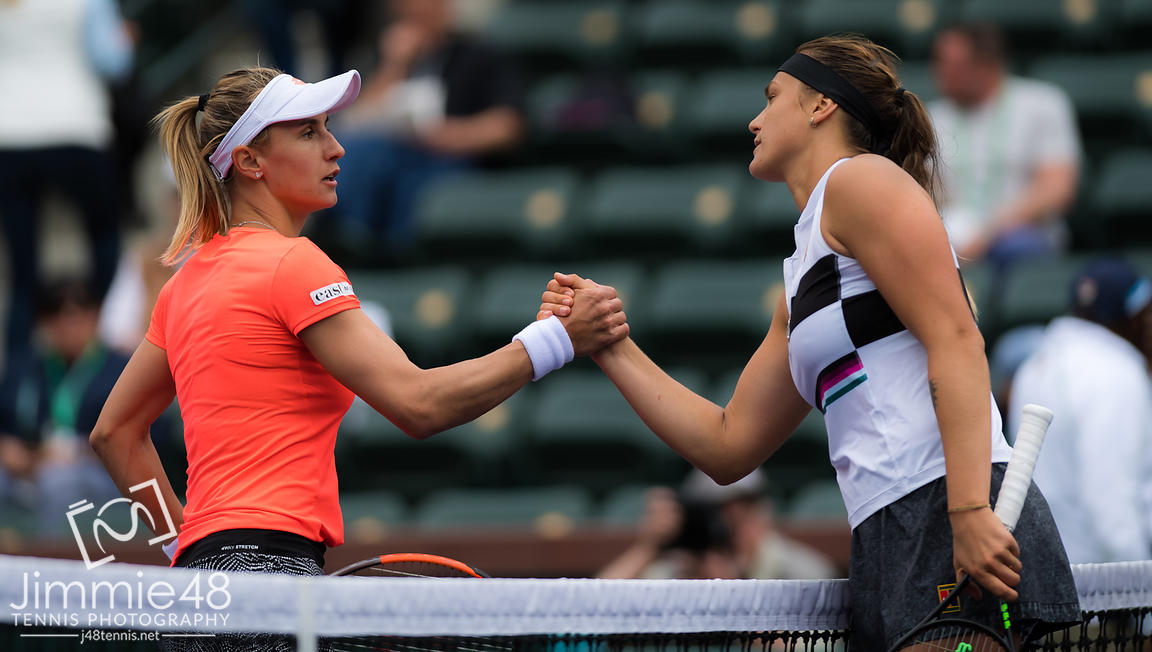 Lesia Tsurenko of the Ukraine & Aryna Sabalenka of Belarus at the net after their third-round match at the 2019 BNP Paribas Open WTA Premier Mandatory tennis tournament