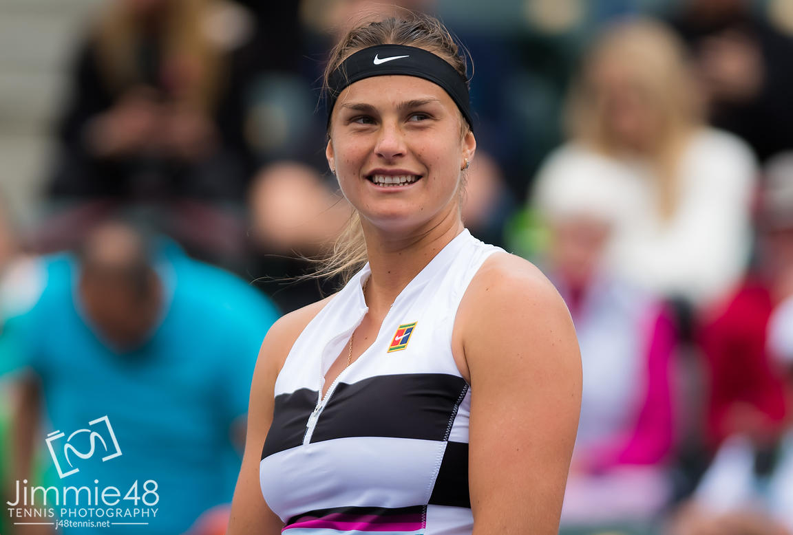 Aryna Sabalenka of Belarus in action during her third-round match at the 2019 BNP Paribas Open WTA Premier Mandatory tennis tournament