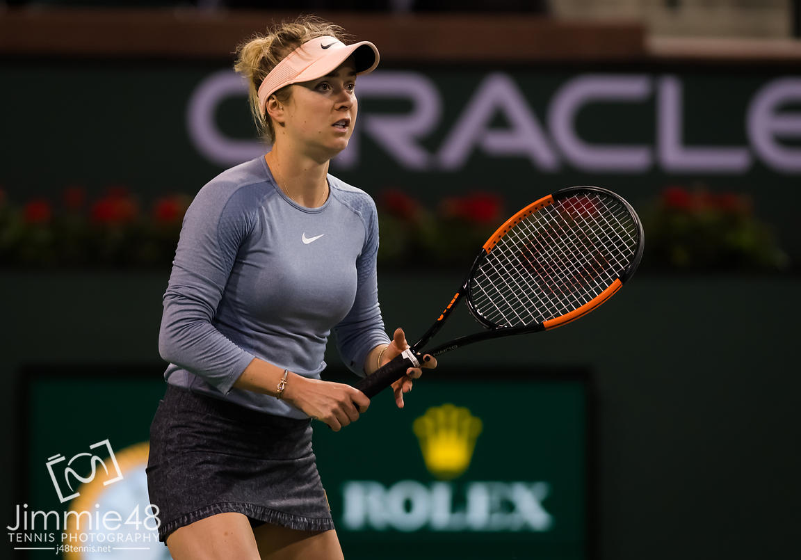 Elina Svitolina of the Ukraine in action during her third-round match at the 2019 BNP Paribas Open WTA Premier Mandatory tennis tournament